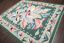 "7'9""x9'9"" Green Mint Grey, Rose, Blue, Black, Ivory, Multi Color Hand Knotted Persian Oriental Area Rug Wool Traditional Oriental Rug"
