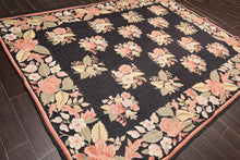 "7'10""x9'10"" Black Rose Beige, Aqua, Gold, Multi Color Hand Knotted Flatweave Oriental Area Rug Wool Traditional Oriental Rug"