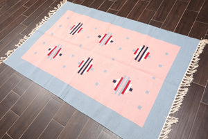 4'x6' Baby Pink Blue Black, White, Red Color Hand Knotted Flatweave Area Rug Wool Traditional Oriental Rug