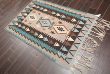 "3'7""x5'3"" Taupe Blue Ivory, Dark Brown, multi Color Hand Knotted Persian Oriental Area Rug Wool Traditional Oriental Rug"