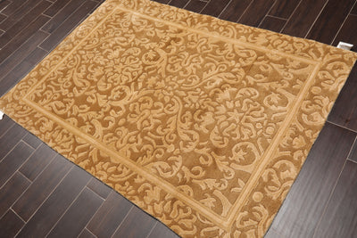 4'x6' Beige Tan Color Hand Knotted Tibetan Oriental Area Rug Wool Traditional Oriental Rug