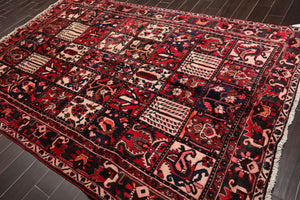 "6'7""x10' Red Blue Beige, Brown, Orange, Multi Color Hand Knotted Persian Oriental Area Rug Wool Traditional Oriental Rug"