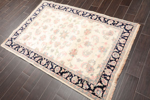 "4'1""x6' Cream Midnight Blue Rose, Pale Pink, Blue Color Hand Knotted Persian Oriental Area Rug Wool Traditional Oriental Rug"