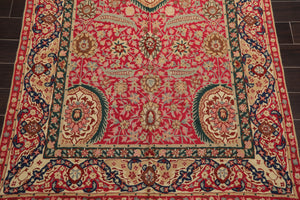 5'x11' Magenta Tan Blue, Green, Grey, Multi Color Hand Woven French Chainstitch Area Rug Wool Traditional Oriental Rug