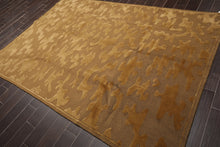 "6'3""x9' Brown Gold Color Hand Knotted Tibetan Oriental Area Rug Wool Modern Oriental Rug"