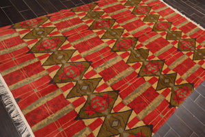 "6'x8'10"" Orangey Red Gold Charcoal, Mustard, Multi Color Hand Knotted Tibetan Oriental Area Rug Wool Contemporary Oriental Rug"