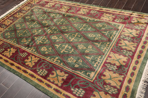 6'x9' Green Burgundy Tan, Gold Color Hand Knotted Tibetan Oriental Area Rug Wool Traditional Oriental Rug
