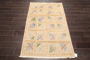 "3'1""x5'9"" Beige Brown Blue, Green, Aqua, Multi Color Hand Knotted Tibetan Oriental Area Rug Wool Modern Oriental Rug"