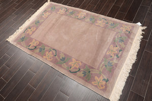 4'x6' Taupe Lavender Green, Blue, Beige Color Hand Knotted Tibetan Oriental Area Rug Wool Traditional Oriental Rug