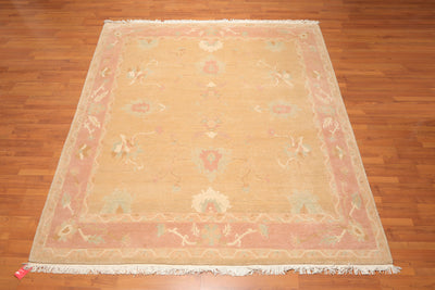 8'x10' Warm Beige Pale Pink Aqua, Grey, Pale Pastels Color Hand Knotted Tibetan Oriental Area Rug 100% Wool Arts & Crafts Oriental Rug