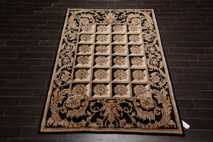 "6'1""x8'10"" Ivory Black Tan, Beige, Brown Color Hand Knotted Tibetan Oriental Area Rug Wool Traditional Oriental Rug"