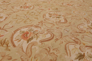 9' x 12' Asmara Hand Woven Botanical 100% wool French Aubusson Area Rug 9x12