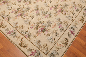 "9' x 11'11"" Asmara Hand Woven Botanical 100% Wool French Needlepoint Area Rug"