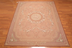 "9'1""x 11'10"" Asmara Hand Woven 100% Wool French Needlepoint Area Rug"