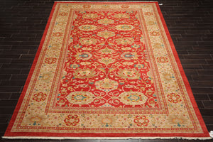 10x14 Burnt Orange, Beige, Gold Color Hand Knotted Persian 100% Wool Authentic Oushak Traditional Oriental Rug
