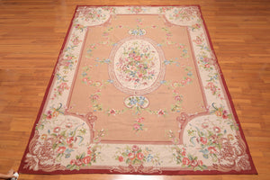 9' x 12' Asmara Hand Woven 100% Wool French Needlepoint Area Rug Traditional