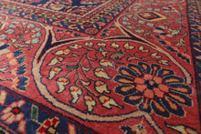Palace Navy, Rose, Rust Color Hand Knotted Persian 100% Wool Sarouk Medallion Tradaitional 250 KPSI Oriental Rug