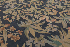 9' x 12' Hand Woven Botanical 100% Wool Aubusson Area Rug 9x12