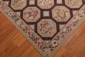 9' x 12' Hand Woven Floral 100% Wool French Needlepoint Area Rug 9x12