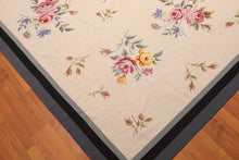 9' x 12' Hand Woven 100% Wool French Needlepoint Area Rug 9x12 Traditional