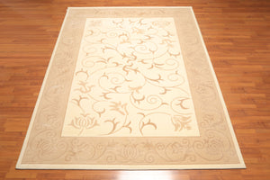"7'10""x11'6"" Ivory Tan Brown Color Machine Made Area Rug Wool & Art Silk Transitional  Oriental Rug"