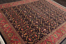 8x10 Hand Knotted Midnight Blue, Rose, Olive Color Persian Kashan 100% Wool 250 KPSI Traditional Oriental Rug