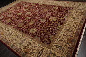 10x14 Hand Knotted Burgundy, Beige, Tan Color Persian 100% Wool Traditional Oriental Rug