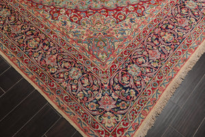 9x12 Hand Knotted Aqua, Navy, Red Color Persian 100% Wool Vintage Medallion Kerman 300 KPSI Traditional Oriental Rug