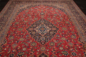 9x12  Hand Knotted Rusty Red, Navy, Blue ColorPersian 100% Wool Vintage Kashan 200 KPSI Traditional Oriental Rug