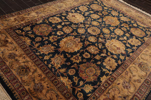 8x10 Hand Knotted Dusty Gold, Rust, Brown Color Persian 100% Wool Agra 200 KPSI Traditional Oriental Rug