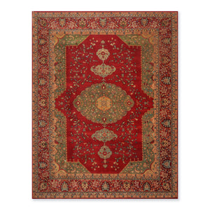 "8'2""x10' Rusty Red Green Blue, Beige, Aqua, Multi Color Hand Knotted Persian Oriental Area Rug 100% Wool Traditional Oriental Rug"
