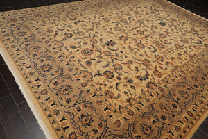 10x14 Hand Knotted Warm Beige, Taupe, Burnt Orange Color Persian 100% Wool Traditional 250 KPSI Oriental Rug