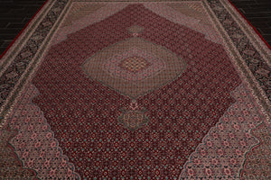 10x14 Hand Knotted Burgundy, Taupe, Rose Color Persian 100% Wool Tabriz Mahi Traditional 250 KPSI Oriental Rug