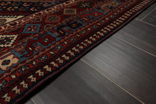 8x10 Hand Knotted Rust, Blue, Ivory Color Persian 100% Wool Yalameh Medallion Design Traditional Oriental Rug