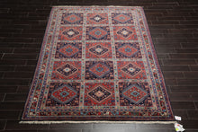 8x10 Hand Knotted Burnt Orange, Navy, Blue Color Persian 100% Wool Yalameh Geometric Motifs Tribal Traditional Oriental Rug