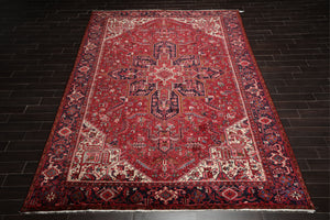10x14 Hand Knotted Red with Orange Undertones, Navy, Ivory Color Persian 100% Wool Heriz Traditional Oriental Rug