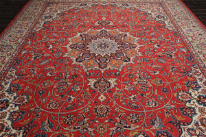 10x14 Hand Knotted Burnt Orange, Ivory, Navy Color Persian 100% Wool Tabriz 300 KPSI Traditional Oriental Rug
