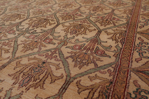 8x10 Hand Knotted Beige, Tan, Aqua Color Persian 100% Wool Agra Traditional 150 KPSI Oriental Rug