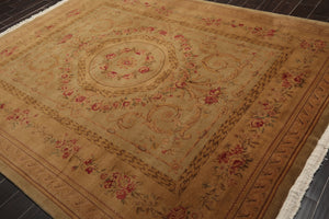 8x10 Hand Knotted Tan, Brown, Rose Color Savonnerie 100% Wool Victorian Aubusson Traditional Oriental Rug