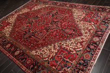8x10 Ivory, Black, Sage Color Hand Knotted Persian 100% Wool Heriz Traditional Oriental Rug