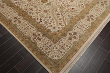10x14 Beige, Sage, Gold Color Hand Knotted Persian 100% Wool Agra Traditional 200 KPSI Oriental Rug