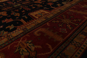 8x10 Midnight Blue, Rusty Red, Gold Color Hand Knotted Persian 100% Wool Kashan Traditional Oriental Rug