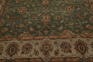 9x12 Green, Gray, Rust Color Hand Knotted Persian 100% Wool Agra Traditional 200 KPSI Oriental Rug