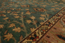 9x12 Teal, Tan, Beige Color Hand Knotted Persian 100% Wool Tabriz Traditional Oriental Rug