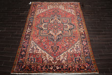 8x10 Apricot, Ivory, Blue Color Hand Knotted Persian 100% Wool Antique Heriz Traditional Oriental Rug
