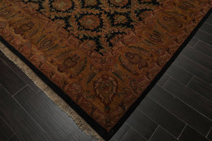 9x12 Black, Gold, Sage Color Hand Knotted Persian 100% Wool Agra Traditional Oriental Rug