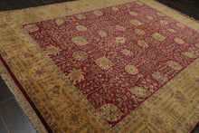 "7'11""x11' Ivory Rose  Pink, Blue, Grey, Multi Color Hand Knotted Persian Oriental Area Rug 100% Wool Traditional Oriental Rug"