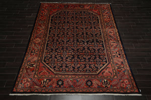 8x10 Navy, Salmon, Beige Color Hand Knotted Persian 100% Wool Lilihaan Traditional Oriental Rug