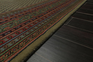 9x12 Light Sage, Rose, Black Color Hand Knotted Persian 100% Wool Paisley Traditional Oriental Rug