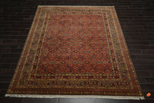8x10 Peach, Gold, Midnight Blue Color Hand Knotted Persian 100% Wool Traditional 300 KPSI Oriental Rug